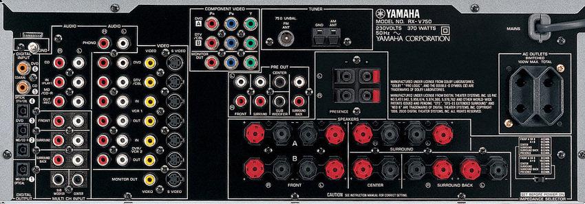 Yamaha RX-V750 Bakifrån