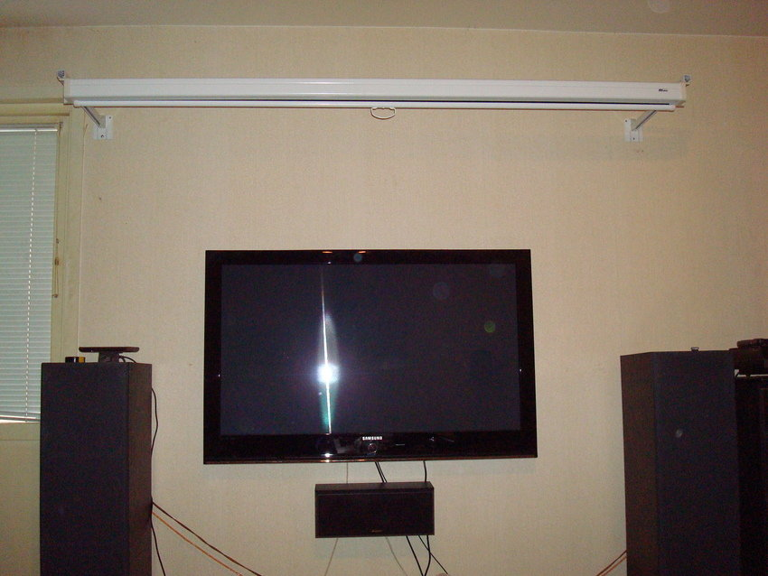90 tums Aview Duken öppdragen & den lilla 50 tums Samsung Plasman ser ljuset :)