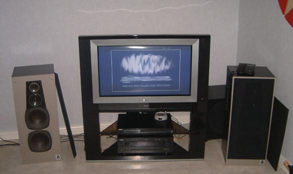Tv, reciever, DVD, högtalare samt basen