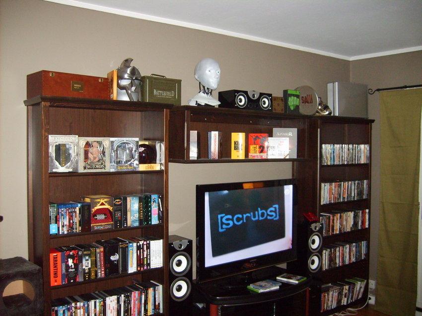 Två av DVD-hyllorna, TV:n, centern och frontarna
