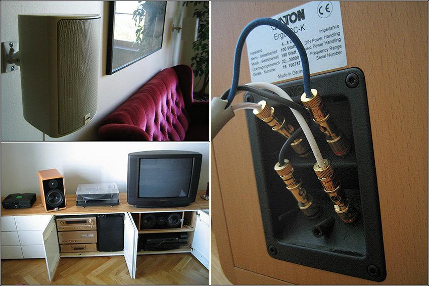 Bi-ampade mina stativare. Receivern drev high/mid och Luxman-steget basarna.