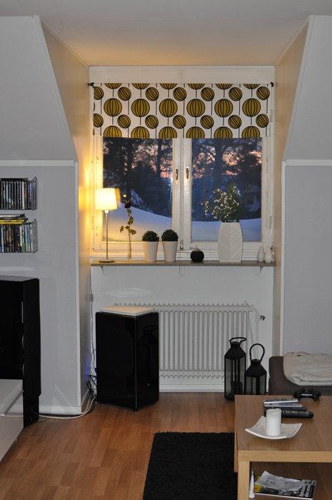 Vardagsrummet med nytt golv