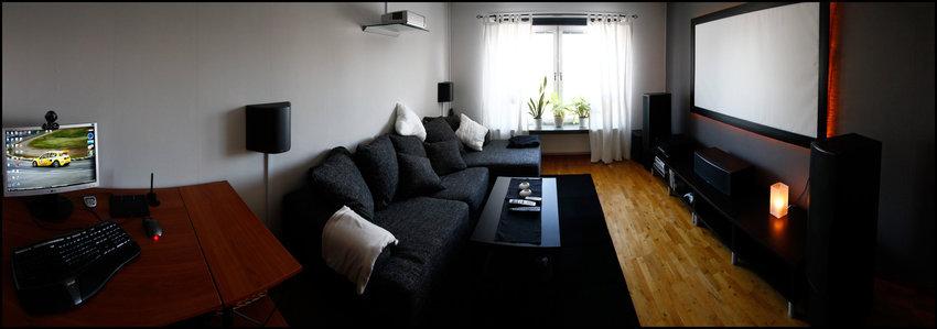 Ny panorama på vardagsrummet utan TV