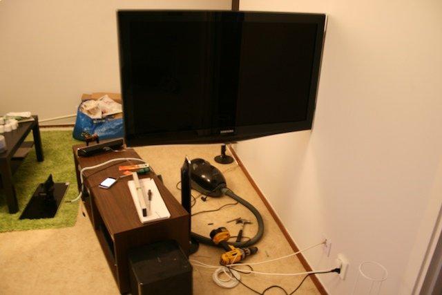Fått upp tv:n på väggen..