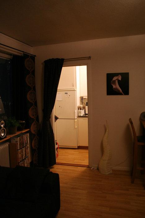 Dörröppningen in till köket med mitt snajdiga draperi öppet.