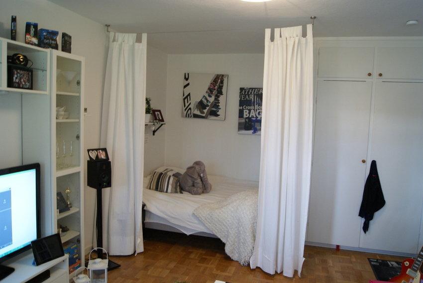 sänghörnet utan draperi för.