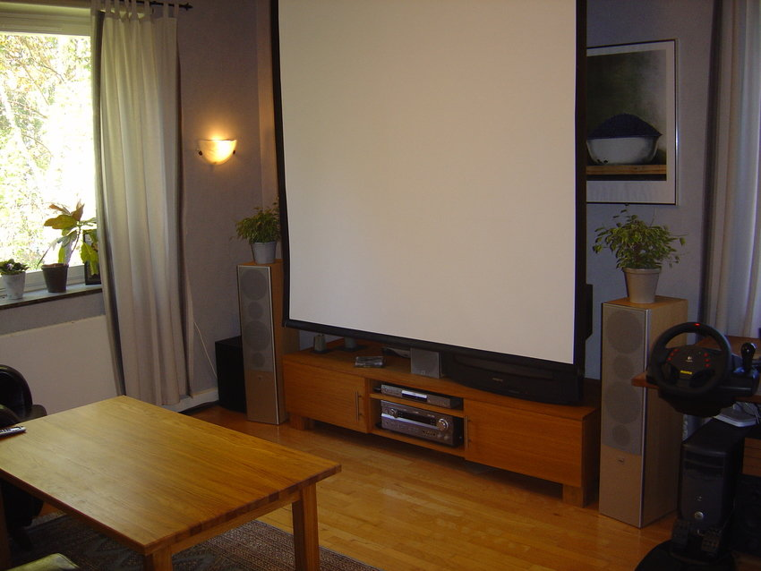 TV dold bakom projektorduken
